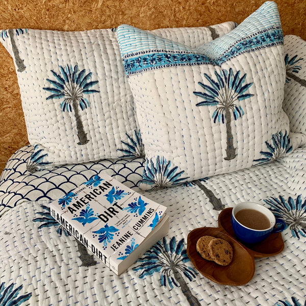 Blue palm with border kantha cushion