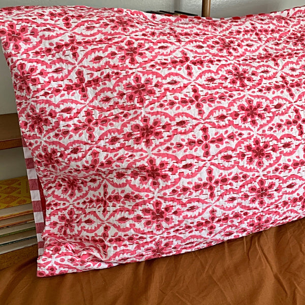 Pink Plum on the bed pillowcase