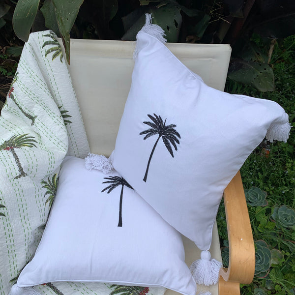 Tassels and palm tree cushion