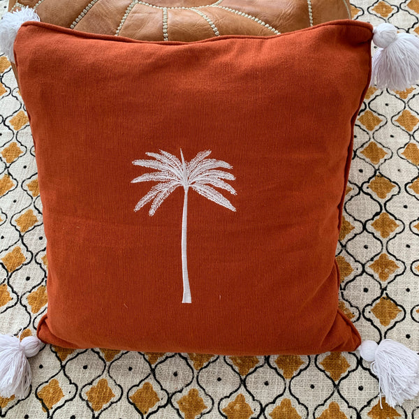Rust & tassels palm tree cushion