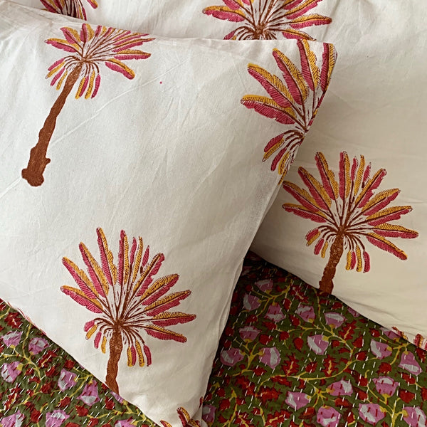 Rust/ pink palm tree hand block printed pillowcase - one left!