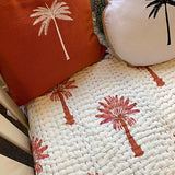 baby quilt cotton rust pink palms hand stitched boho
