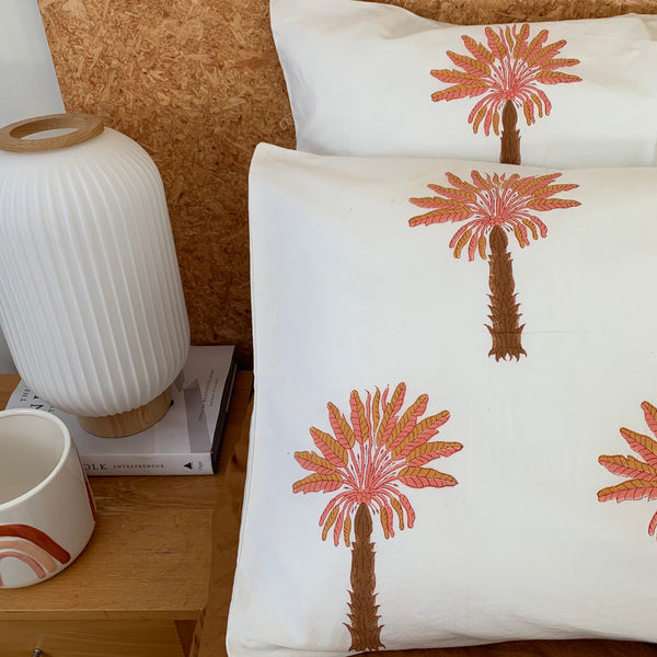 Sunshine Palm hand block printed cotton pillowcase