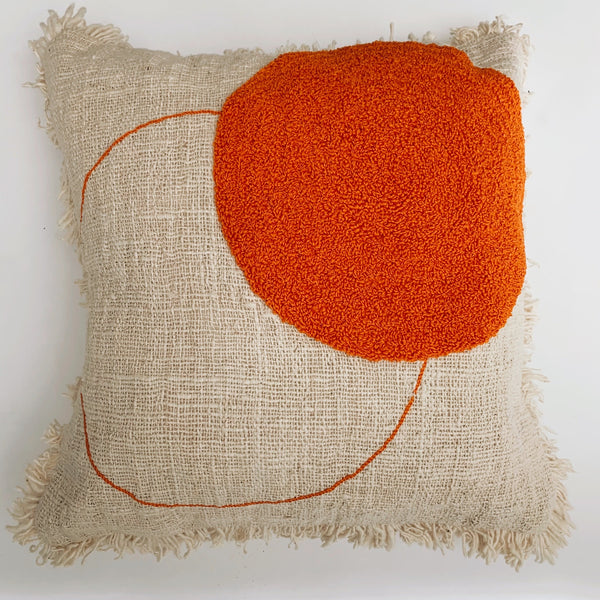 Sora raw cotton cushion with fringing