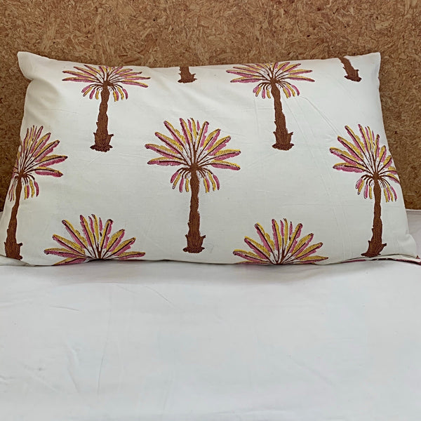 Rust/ pink palm tree hand block printed pillowcase