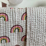 Rainbow single cotton bedding tween children kids bedding