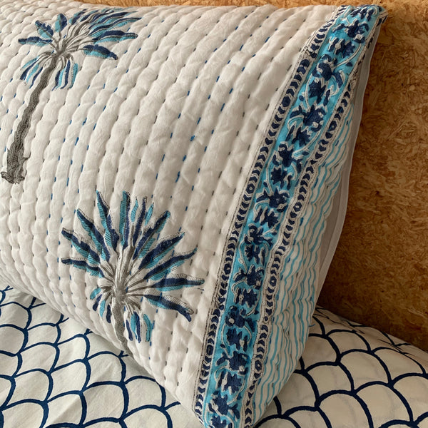 Blue palm tree border pillowcases- pair