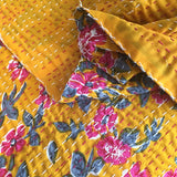 Turmeric and hot pink kantha single quilt