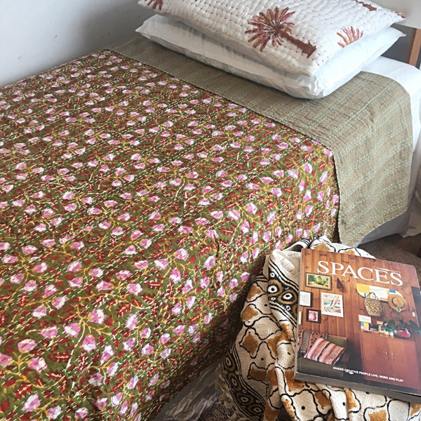 Lazy days in the garden kantha quilt- back in stock soon