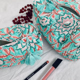 Handblock printed cosmetic / toiletry bag aqua