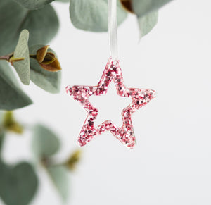 Pink Star Christmas Tree Decoration