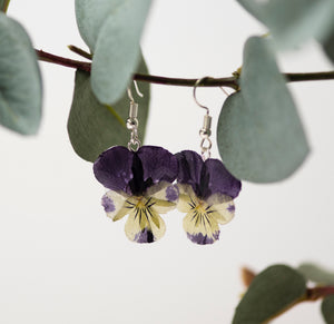 Silver Pansy Earrings