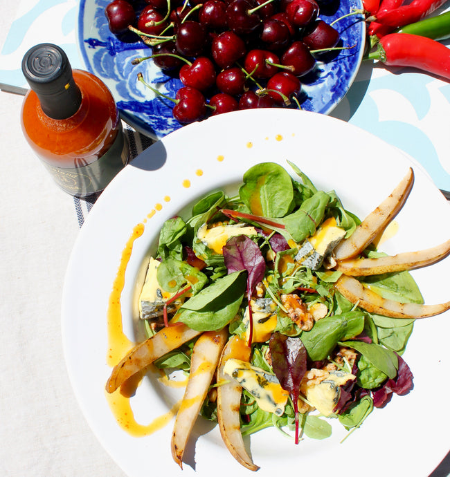 Pear, walnut & Isle of Wight Blue Cheese salad with Chilli Cherry Drizzle
