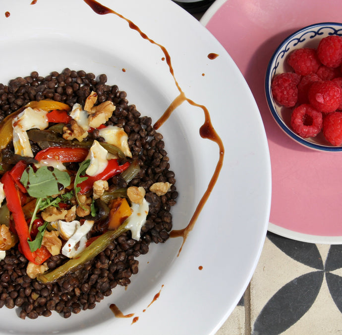 Puy lentils, goat's cheese & roasted peppers with Raspberry Balsamic Dressing & Dip