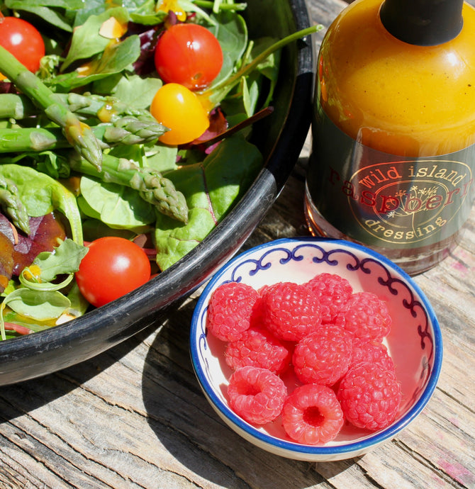 Asparagus, green leaves & tomatoes with Raspberry Dressing