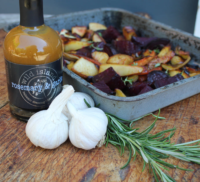 Roasted vegetables with Rosemary & Garlic Dressing & Marinade