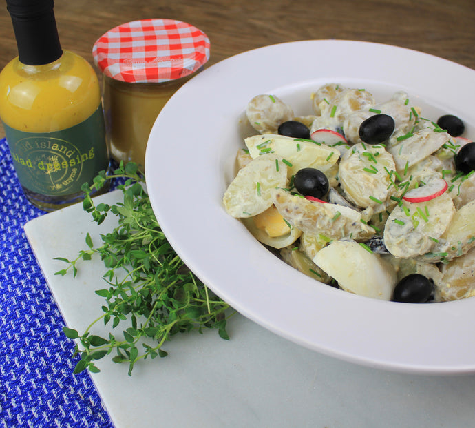 Warm potato salad with Wild Island Salad Dressing