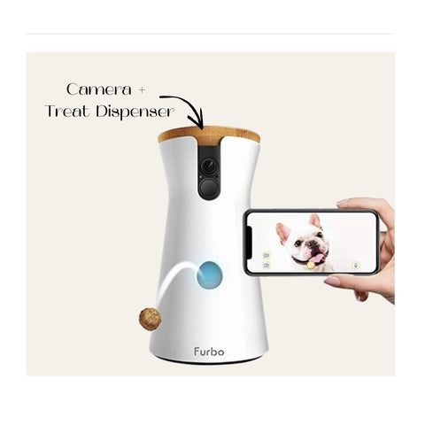 Keep tabs on your pet from the office with this remote treat dispenser