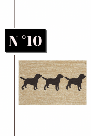 Three Dog Print Neutral Indoor Outdoor Welcome Mat from Potterybarn