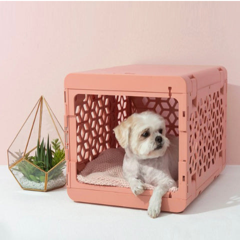 Kindtail Pawd Collapsible Dog & Cat Crate in Pink