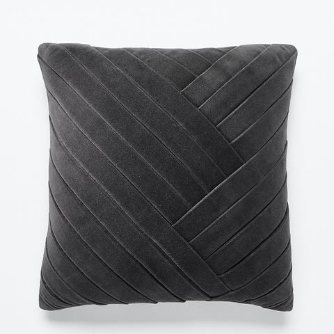 """18"""" Leger Velvet Pillow Charcoal With Feather-Down Insert"""