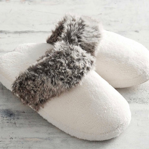 Gray Ombre Faux Fur Slippers