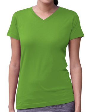 LAT Ladies' V-Neck Fine Jersey T-Shirt - 3507