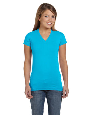 LAT Ladies' Junior Fit V-Neck T-Shirt - 3607