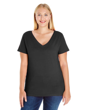 LAT Ladies' Curvy V-Neck T-Shirt - 3807