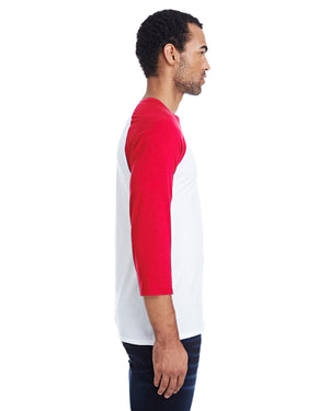 Hanes Men's 4.5 oz., 60/40 Ringspun Cotton/Polyester X-Temp® Baseball T-Shirt - 42BA