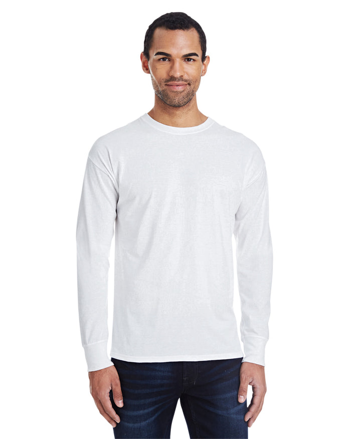 Hanes Men's 4.5 oz., 60/40 Ringspun Cotton/Polyester X-Temp® Long-Sleeve T-Shirt - 42L0