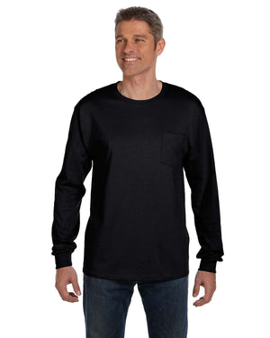 Hanes Men's 6.1 oz. Tagless® Long-Sleeve Pocket T-Shirt - 5596