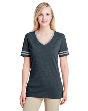 Jerzees Ladies' 4.5 oz. TRI-BLEND Varsity V-Neck T-Shirt - 602WVR