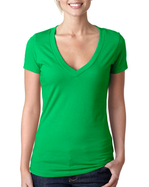 Next Level Ladies' CVC Deep V-Neck T-Shirt - 6640