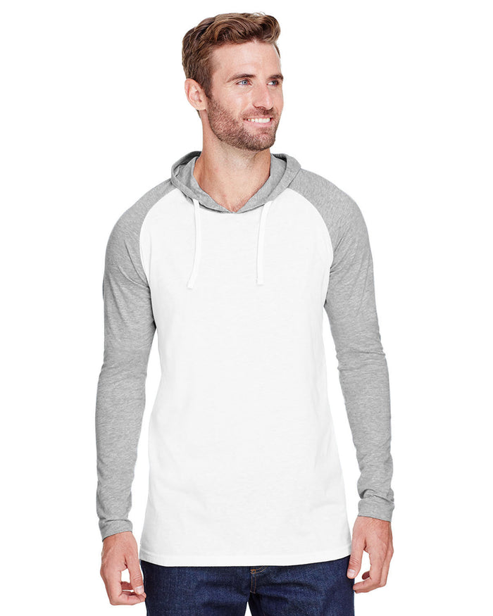 LAT Men's Hooded Raglan Long Sleeve Fine Jersey T-Shirt - 6917