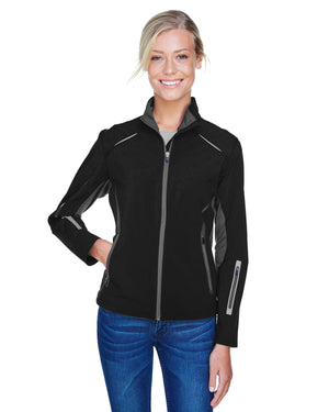 North End Ladies' Pursuit Three-Layer Light Bonded Hybrid Soft Shell Jacket with Laser Perforation - 78678