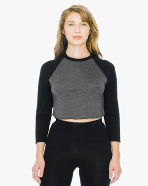 American Apparel Ladies' Poly-Cotton 3/4-Sleeve Cropped T-Shirt - ABB354W