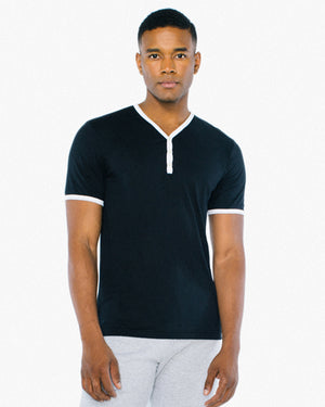 American Apparel Unisex Poly-Cotton V-Neck Henley - ABB471W