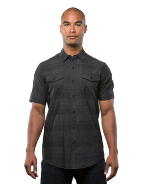 Burnside Men's Short-Sleeve Plaid Pattern Woven Shirt - B9202