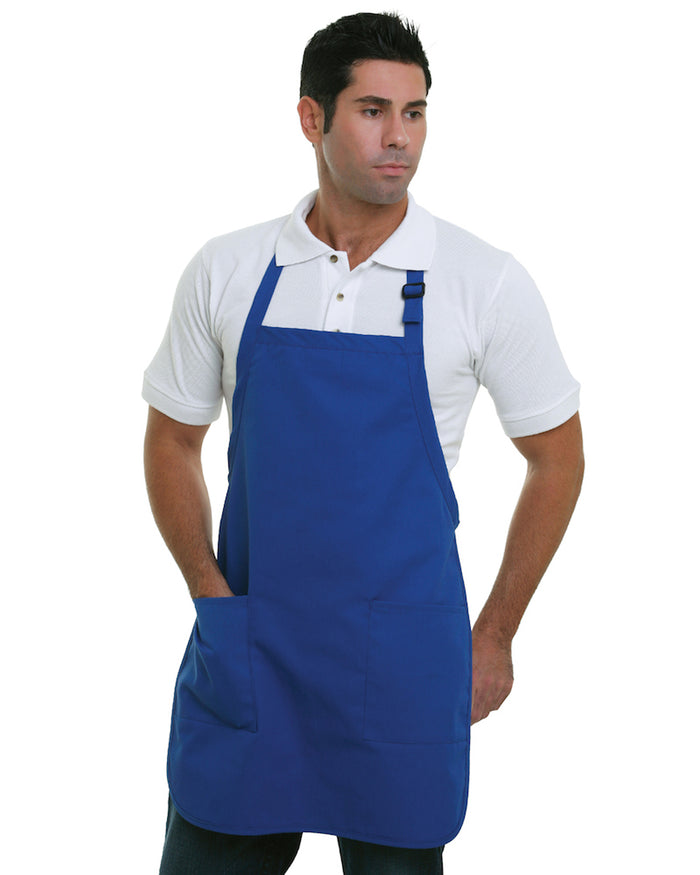 Bayside 65% polyester / 35% cotton Deluxe Full-Length Bib Apron - BA4350