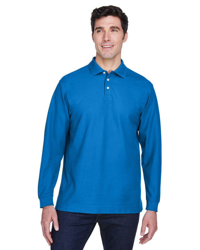Devon & Jones Men's Pima Piqué Long-Sleeve Polo - D110