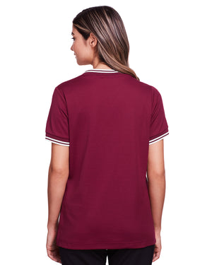 Devon & Jones Ladies' CrownLux Performance™ Plaited Tipped V-Neck Polo - DG20CW