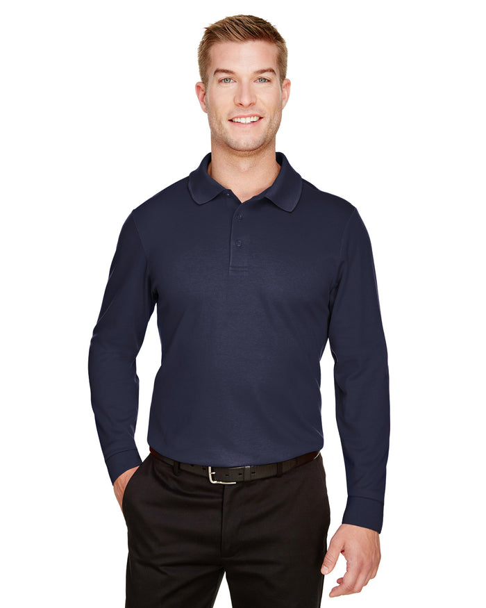 Devon & Jones CrownLux Performance™ Men's Tall Plaited Long Sleeve Polo - DG20LT