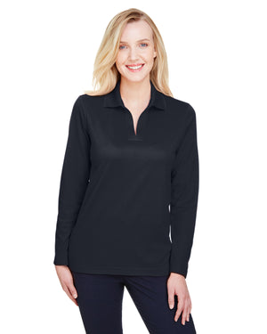 Devon & Jones CrownLux Performance™ Ladies' Plaited Long Sleeve Polo - DG20LW
