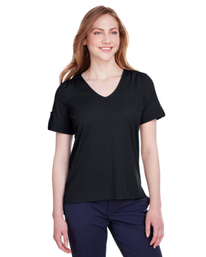 Devon & Jones Ladies' CrownLux Performance™ Plaited Rolled-Sleeve Top - DG20WB