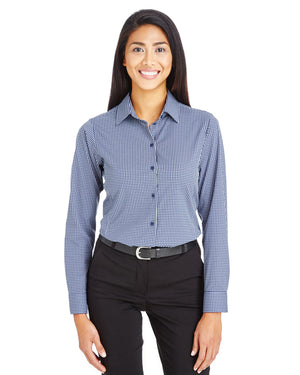 Devon & Jones CrownLux Performance™ Ladies' Tonal Mini Check Shirt - DG535W