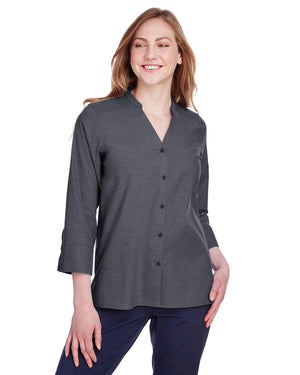 Devon & Jones Ladies' Crown Collection™ Stretch Pinpoint Chambray 3/4 Sleeve Blouse - DG562W