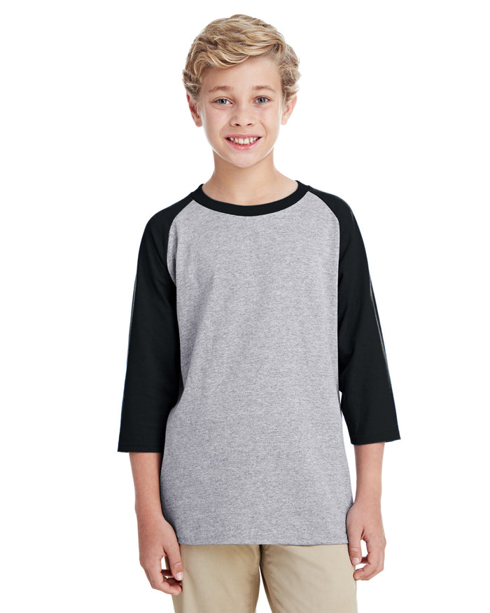 Gildan Youth  Heavy Cotton™ 5.3 oz. 3/4-Raglan Sleeve T-Shirt - G570B