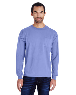 ComfortWash by Hanes Unisex 5.5 oz., 100% Ringspun Cotton Garment-Dyed Long-Sleeve T-Shirt with Pocket - GDH250