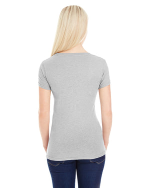 J America Ladies' Glitter V-Neck T-Shirt - JA8136
